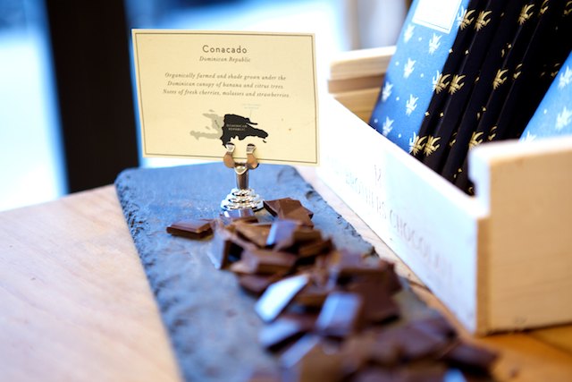 Sampling chocolate at Mast Brothers Chocolate